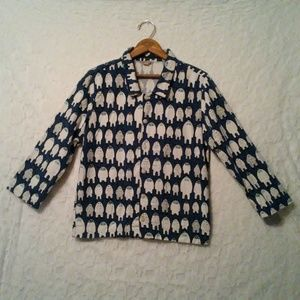 PB Teen Pottery Barn Blue Yeti Flannel Pajama Top